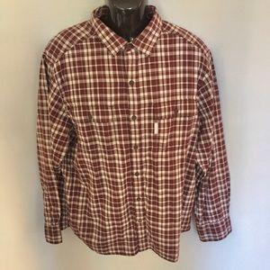 Columbia Shirt Plaid Button Front LS Sz L